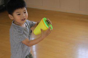 今日のあお組さん(3歳児)、きりん・ひよこ組さん(2歳児)